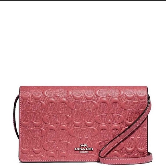 NWT Coach Leather Crossbody in Embossed Signature